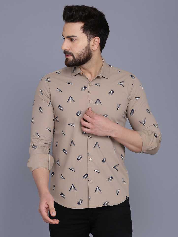 Men Printed Casual Spread Shirt