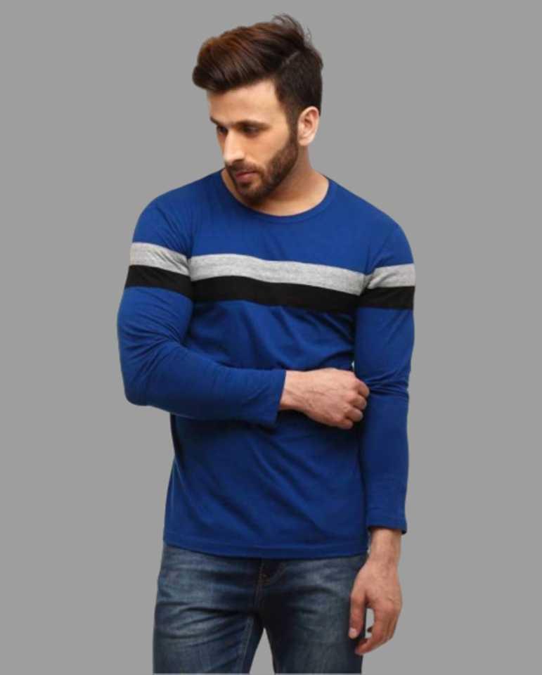 Solid Men Round Neck Dark Blue, Black, Grey T-Shirt