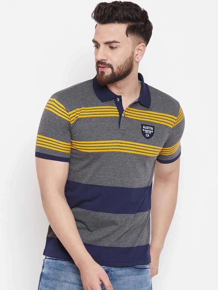 Striped Men Polo Neck Multicolor T-Shirt