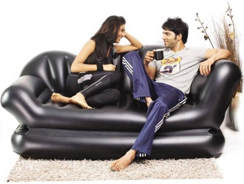 Telebrands Vinyl 3 Seater Inflatable Sofa  (Color - Black)