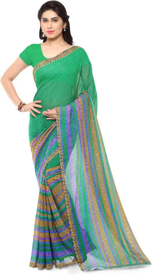 Paisley, Striped, Floral Print Daily Wear Georgette Saree