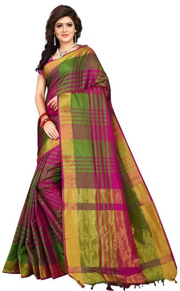 Checkered Fashion Cotton Silk Saree